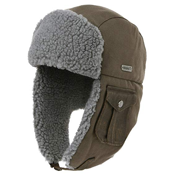 SIGGI Cotton Trapper Hat Faux Fur Earflaps Hunting Hat Warm Pillow Lining Unisex