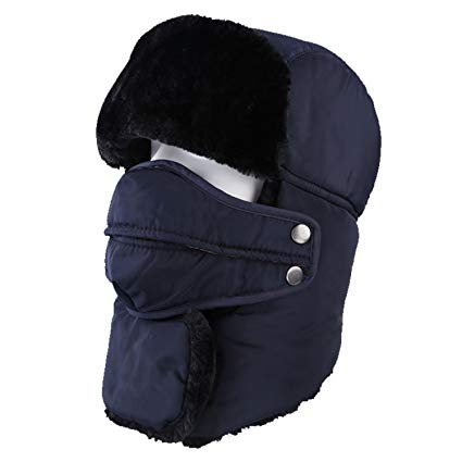 Topnaca Unisex Winter Trappe Hat with Mask and Neck Warmer, Reflective Waterproof Thermal Warm Russian Style for Snow Skiing Hunting Walking Hiking